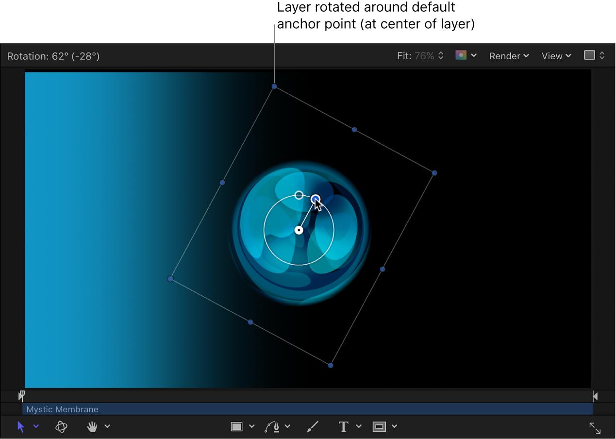 显示要围绕中心锚点旋转的对象的画布