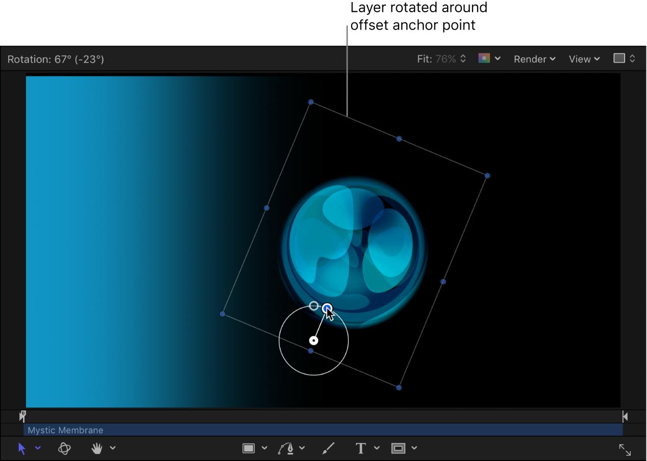 显示要围绕偏离中心锚点旋转的对象的画布