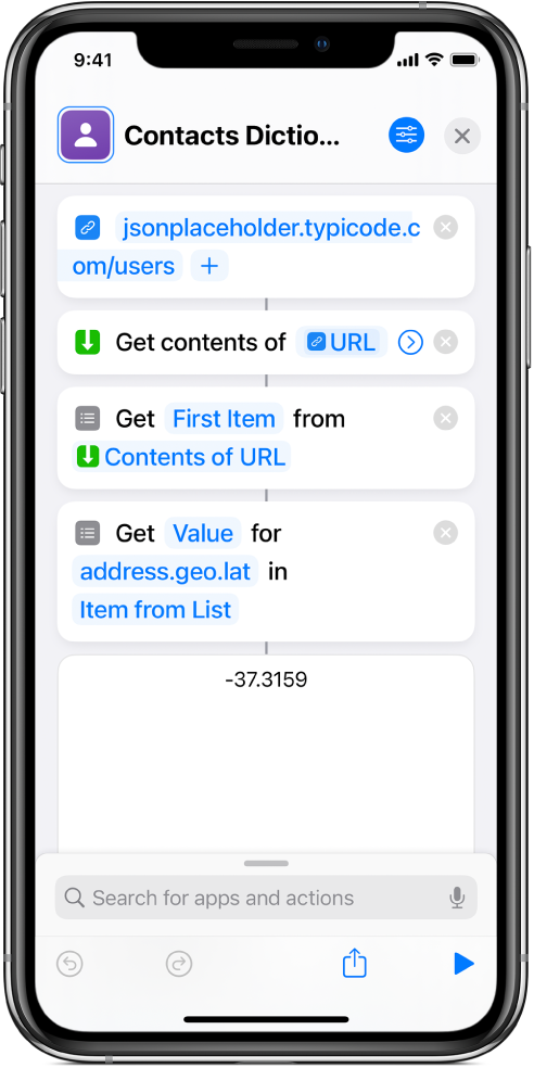 Get Dictionary Value action in the shortcut editor with the key set to address.geo.lat.