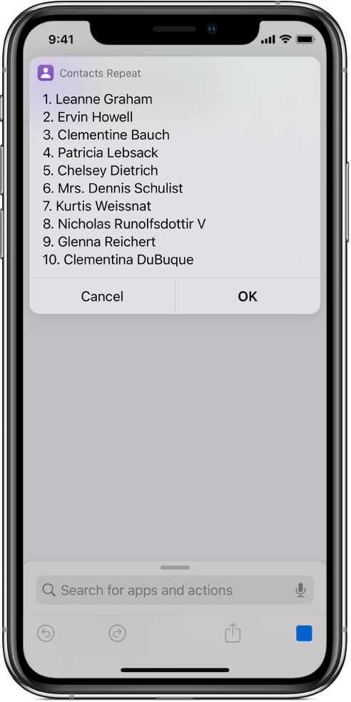 The result of a shortcut showing a list of users.