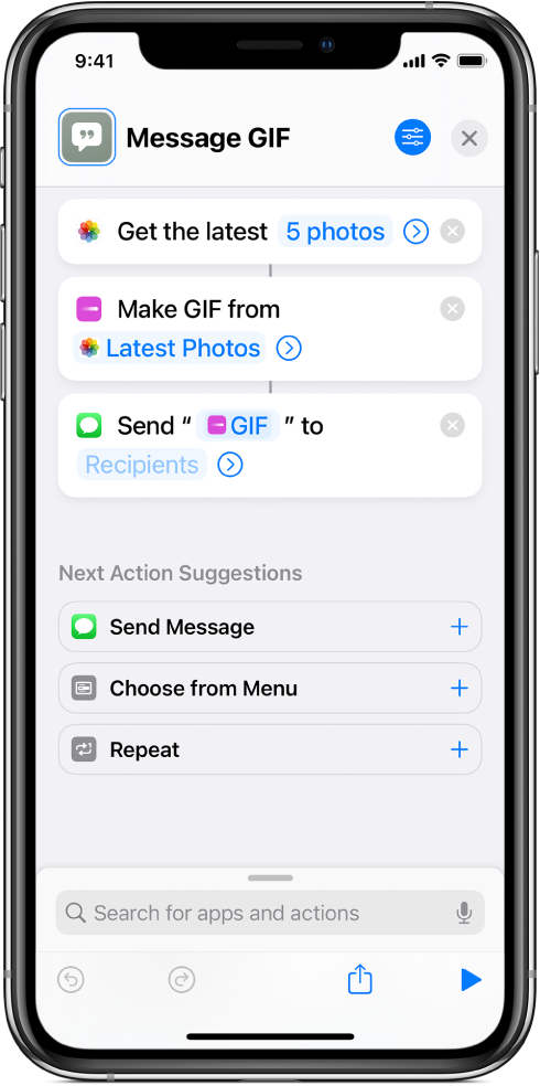 Shortcut editor showing actions used to send a message with photos as an animated GIF.