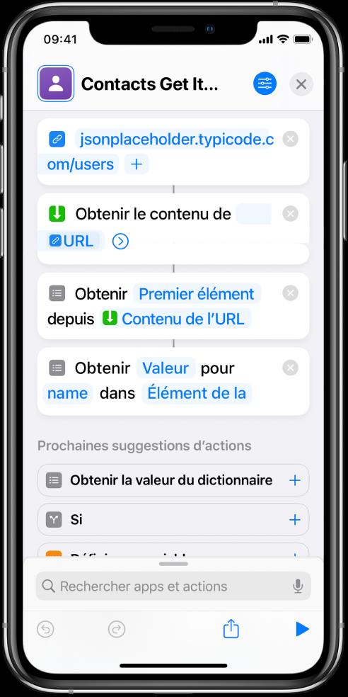 Action «Obtenir la valeur du dictionnaire» dans l'éditeur de raccourcis avec la clé définie sur «name».