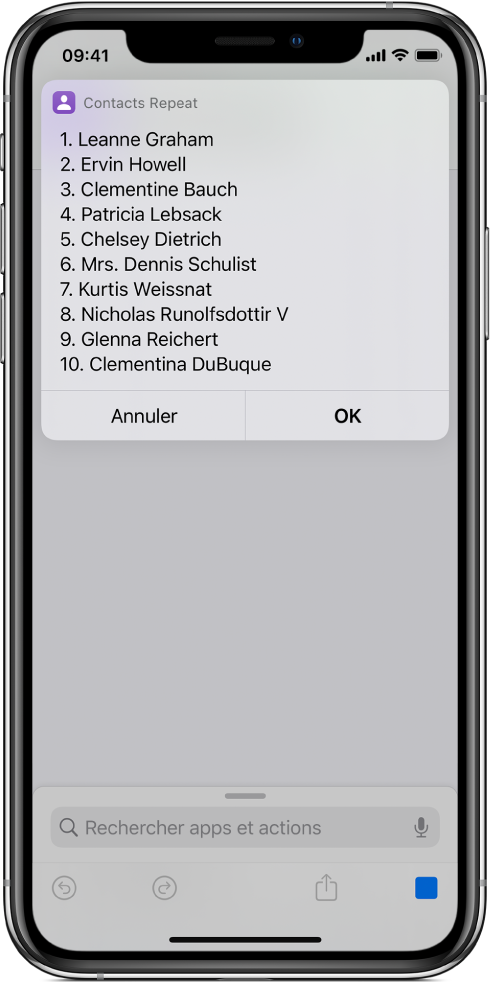 Résultat d'un raccourci affichant une liste d'utilisateurs.