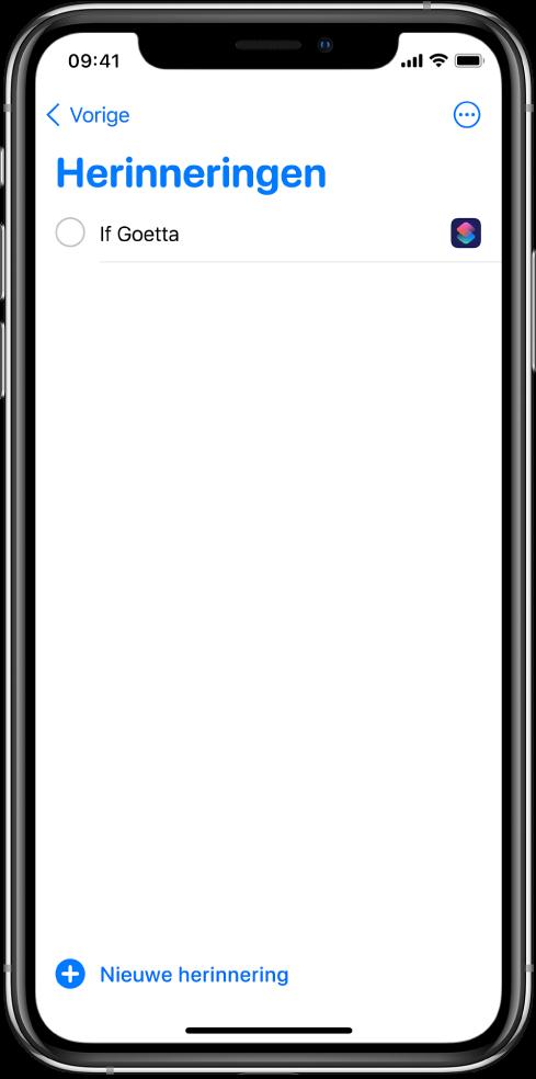 Herinneringen-app met de nieuwe opdrachtherinnering.
