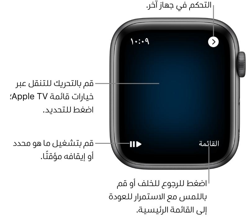 شاشة عرض AppleWatch أثناء استخدامها كجهاز تحكم. زر القائمة في أسفل اليسار وزر تشغيل/إيقاف مؤقت في أسفل اليمين. يوجد الزر رجوع في أعلى اليسار.