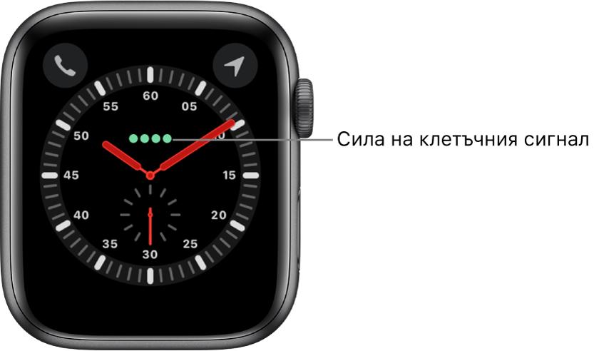 Циферблатът Explorer (Изследовател) е аналогов часовник. Точно над центъра на циферблата се намират четирите зелени точки, които показват силата на мобилния сигнал.