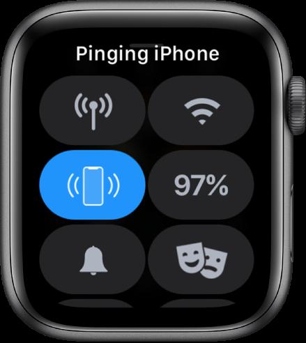 Контролният център с бутона за проверка на връзката на iPhone, показан вляво по средата.
