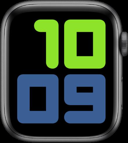 Циферблатът Numerals Duo (Цифри Дуо), показващ 10:09 с много големи цифри.