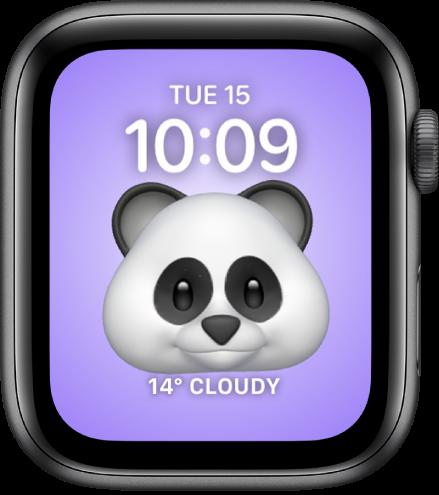 Циферблатът Memoji, където можете да настроите Memoji герой и добавка отдолу. Докоснете екрана, за да раздвижите героя Memoji. Датата и часът са горе, а добавката Weather (Прогноза за времето) е в долния край.