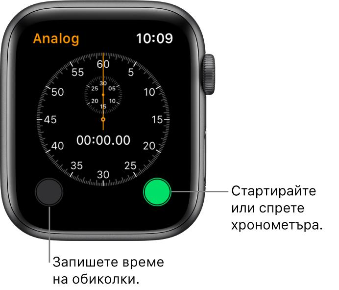 Екран на аналогов хронометър. Докоснете десния бутон за да го стартирате или спрете, а левия - за да записвате времената на обиколки.