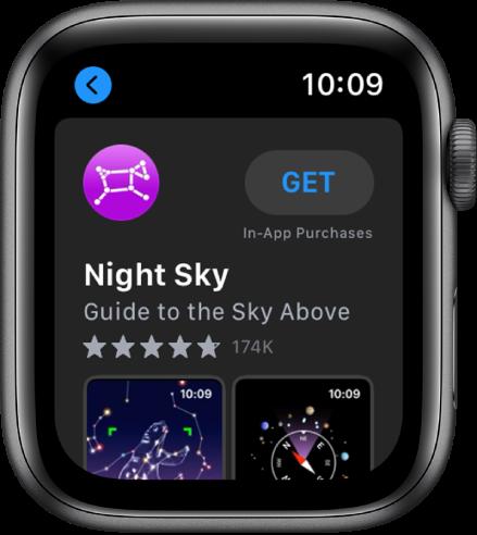 Apple Watch, показващ приложението App Store. Поле за търсене се появява в горния край на екрана, а колекциите приложения са отдолу.