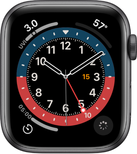 Циферблатът GMT, където можете да настроите цвета на циферблата. Показани са четири добавки: UV Index (UV индекс) е горе вляво. Temperature (Температура) е горе вдясно, Timer (Таймер) е долу вляво и Cycle Tracking (Следене на цикъла) е долу вдясно.