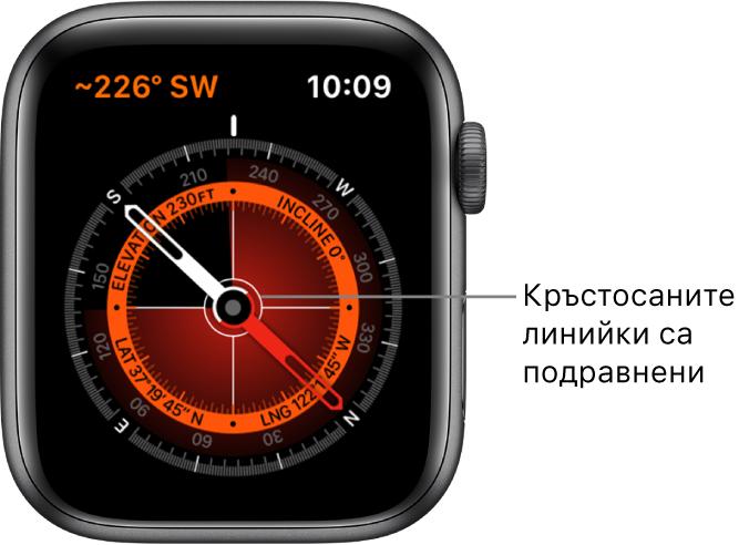 Компасът върху циферблата на Apple Watch. Горе вляво е посоката. Вътрешният кръг показва надморската височина, наклона и географската ширина и дължина. Появяват се бели линийки, които сочат север, юг, изток и запад.