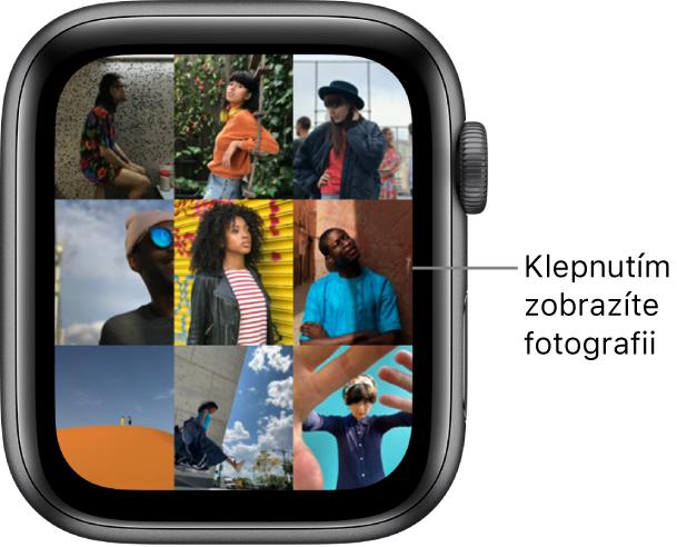 Hlavní obrazovka aplikace Fotky na hodinkách AppleWatch sněkolika fotkami zobrazenými vmřížce.