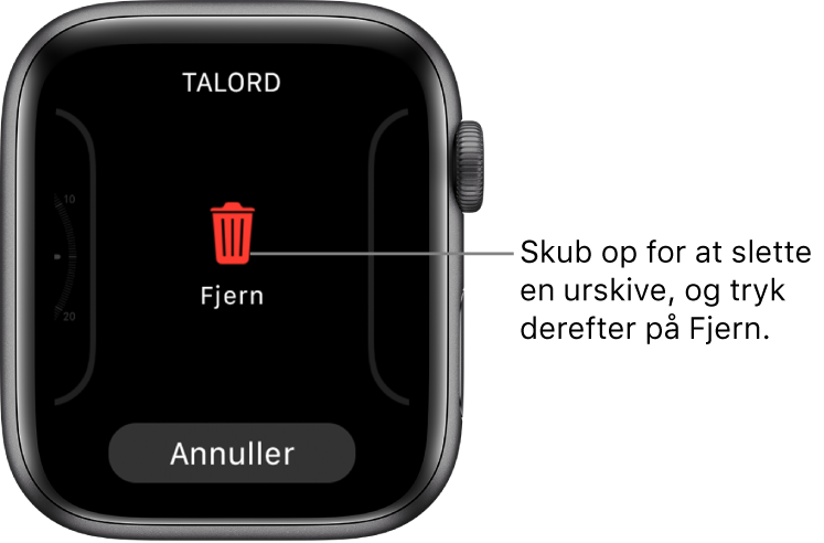 Skærmen på Apple Watch, der viser knapperne Fjern og Annuller, som vises, efter du har skubbet til en urskive og derefter skubbet op på den for at slette den.