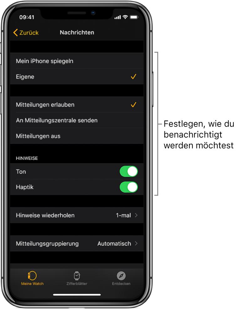 """Einstellungen für """"Nachrichten"""" in der AppleWatch-App auf dem iPhone. Du kannst auswählen, ob Hinweise angezeigt werden sollen sowie den Ton oder die Haptik aktivieren und Hinweise wiederholen lassen."""