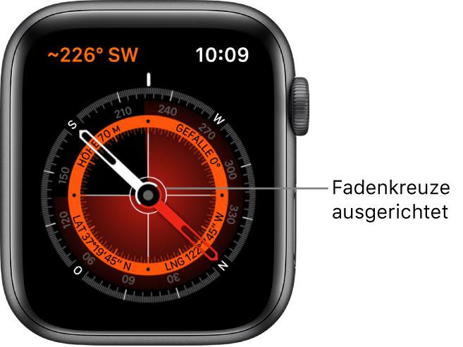 Der Kompass auf dem Zifferblatt der Apple Watch. Oben links befinden sich die Ortungsdaten. Der innere Ring zeigt die aktuelle Höhe, das Gefälle, den Breiten- und den Längengrad. Weiße Fadenkreuze zeigen nach Norden, Süden, Osten und Westen.