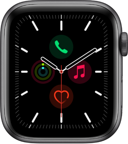 """Das Zifferblatt """"Meridian"""", auf dem du die Farbe und Details des Zifferblatts anpassen kannst. Im Inneren eines analogen Zifferblatts sind vier Komplikationen zu sehen: """"Telefon"""" oben, """"Musik"""" rechts"""", """"Herzfrequenz"""" unten und """"Aktivität"""" links."""