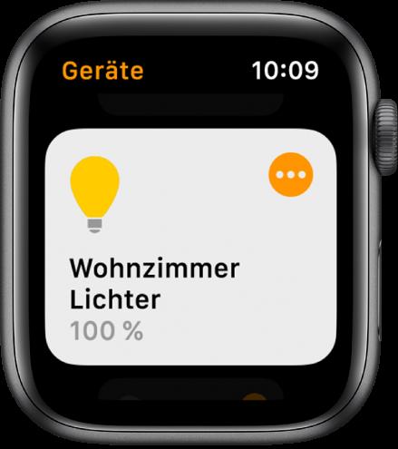 """Ein Beleuchtungszubehör in der App """"Home"""". Tippe oben rechts auf das Symbol des Geräts, um seine Einstellungen anzupassen."""