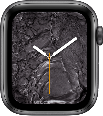 """Das Zifferblatt """"Flüssigmetall"""" zeigt eine analoge Uhr in der Mitte umgeben von Flüssigmetall."""