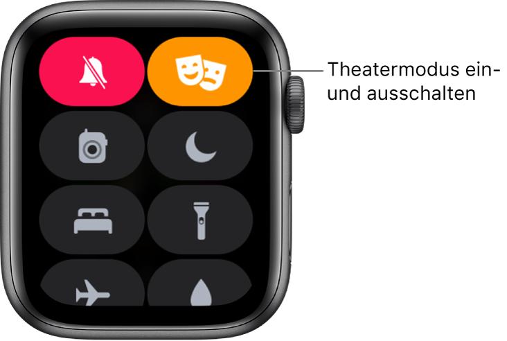 """Kontrollzentrum mit den Tasten """"Theatermodus"""" und """"Stummmodus"""", die hervorgehoben sind, um zu zeigen, dass der Theatermodus aktiviert ist."""