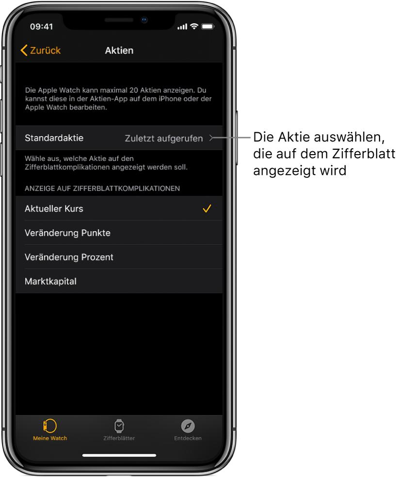 """Die Aktieneinstellungen in der AppleWatch-App auf dem iPhone zeigt die Option zum Auswählen deiner Standardaktie, standardmäßig auf """"Zuletzt aufgerufen"""" eingestellt."""