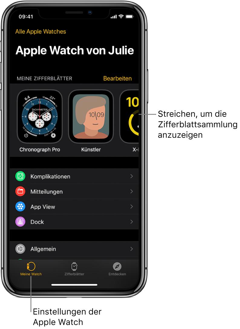 """Die AppleWatch-App auf dem iPhone öffnet sich mit dem Bildschirm """"Meine Watch"""", in dem oben deine Zifferblätter und unten die Einstellungen angezeigt werden. Unten in der AppleWatch-App befinden sich drei Tabs: Links der Tab """"Meine Watch"""" mit den Einstellungen für die AppleWatch, daneben die Zifferblattgalerie, in der du die verfügbaren Zifferblätter und Komplikationen durchsuchen kannst, rechts daneben der Tab """"Entdecken"""", wo du mehr über die AppleWatch erfährst."""