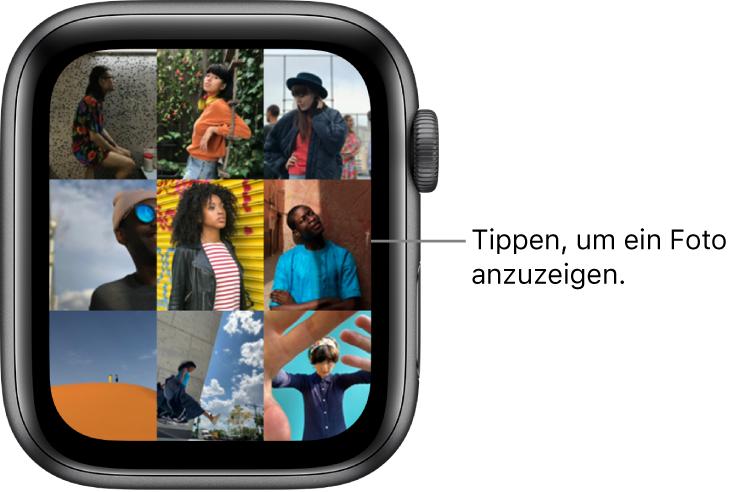 """Der Hauptbildschirm der App """"Fotos"""" auf der AppleWatch mit mehreren Fotos in einem Raster."""