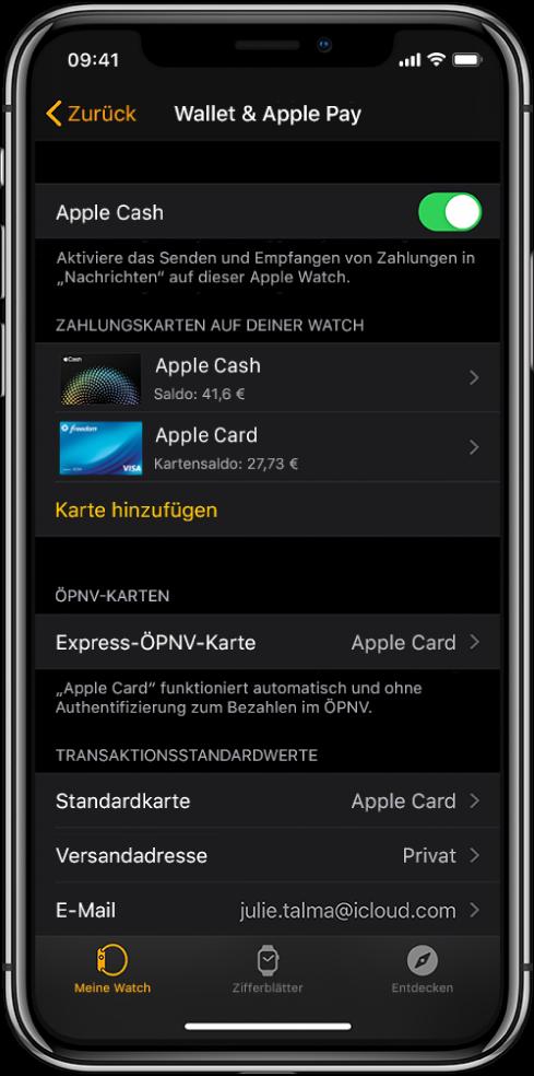 """Bildschirm """"Wallet & ApplePay"""" in der AppleWatch-App auf dem iPhone. Es werden die Karten angezeigt, die du zur Apple Watch hinzugefügt hast, sowie die Express-ÖPNV-Karten und die Standardeinstellungen für Transaktionen."""