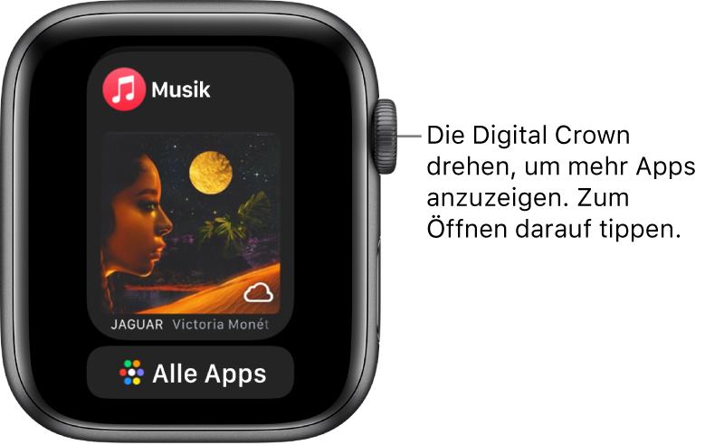 """Im Dock ist die App """"Musik"""" und darunter die Taste """"Alle Apps"""" zu sehen. Drehe die Digital Crown, um weitere Apps anzuzeigen. Tippe auf die gewünschte App, um sie zu öffnen."""