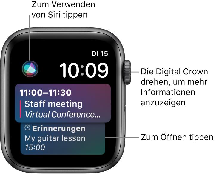 Das Siri-Zifferblatt mit einer Erinnerung sowie einem Kalenderereignis. Oben links befindet sich die Siri-Taste. Datum und Uhrzeit befinden sich oben rechts.
