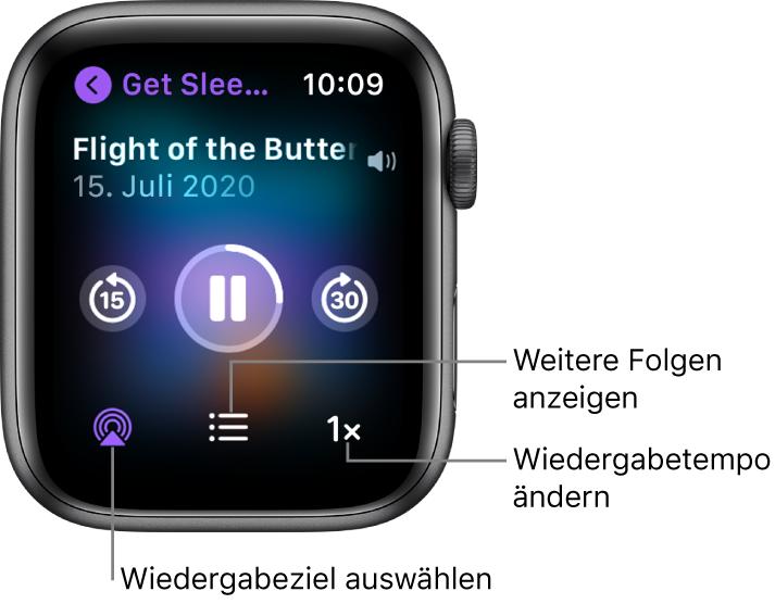 """Die Anzeige """"Jetzt läuft"""" für einen Podcast mit den Titeln von Sendung und Folge, dem Datum, den Tasten zum Zurückspringen von 15Sekunden, zum Anhalten und zum Vorspringen von 30Sekunden, der Taste """"AirPlay"""", der Taste für die Folgen und einer Taste für das Wiedergabetempo."""