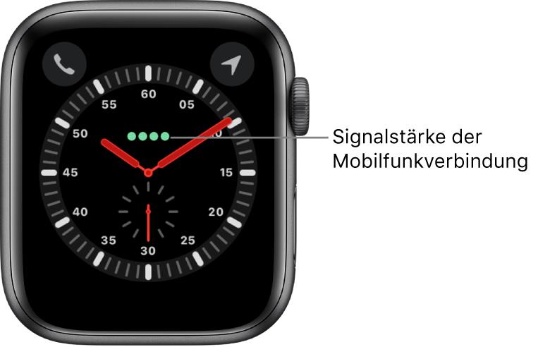 """Beim Zifferblatt """"Entdecker"""" handelt es sich um eine Analoguhr. Über der Mitte des Zifferblatts sind vier grüne Punkte zu sehen, die die Signalstärke der Mobilfunkverbindung anzeigen."""