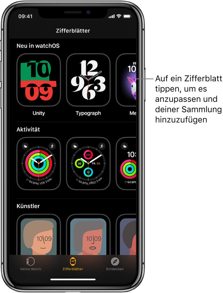 """Die Zifferblattgalerie in der AppleWatch-App. In der oberen Zeile befinden sich die neuen Zifferblätter, in den nächsten Zeilen sind die Zifferblätter nach Typ z.B. """"Aktivität"""" und """"Künstler"""" gruppiert. Scrolle, um mehr Zifferblätter nach Typ sortiert anzuzeigen."""