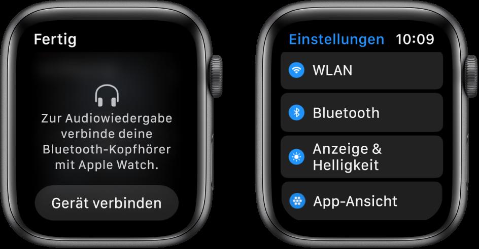 """Zwei Displays nebeneinander. Links ist die Aufforderung zu sehen, Bluetooth-Kopfhörer mit der Apple Watch zu verbinden. Unten ist eine Taste zum Verbinden eines Geräts zu sehen. Rechts sind die Einstellungen zu sehen mit einer Liste, die die Tasten """"WLAN"""", """"Bluetooth"""", """"Helligkeit"""", """"Textgröße"""" und """"App-Ansicht"""" enthält."""