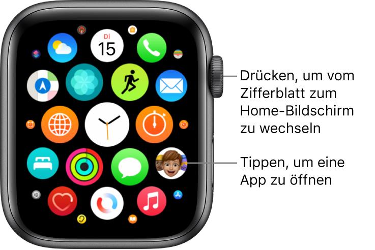 Home-Bildschirm in der Rasterdarstellung auf der Apple Watch mit Apps in einer Gruppe. Tippe auf eine App, um sie zu öffnen. Bewege den Finger, um weitere Apps anzuzeigen.