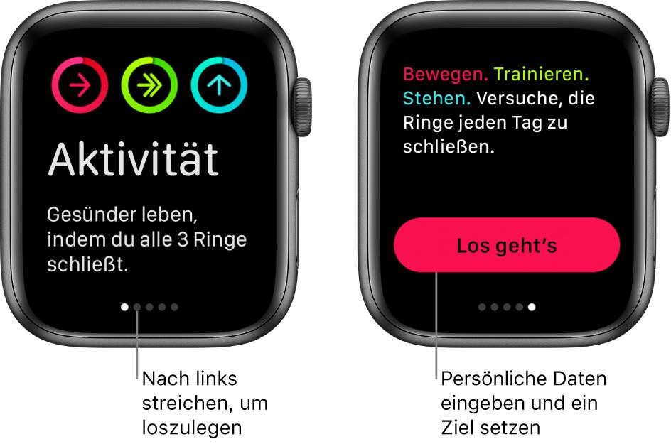 """Zwei Anzeigen: Auf der einen siehst du den Startbildschirm der App """"Aktivität"""", auf der anderen die Taste """"Los gehts""""."""