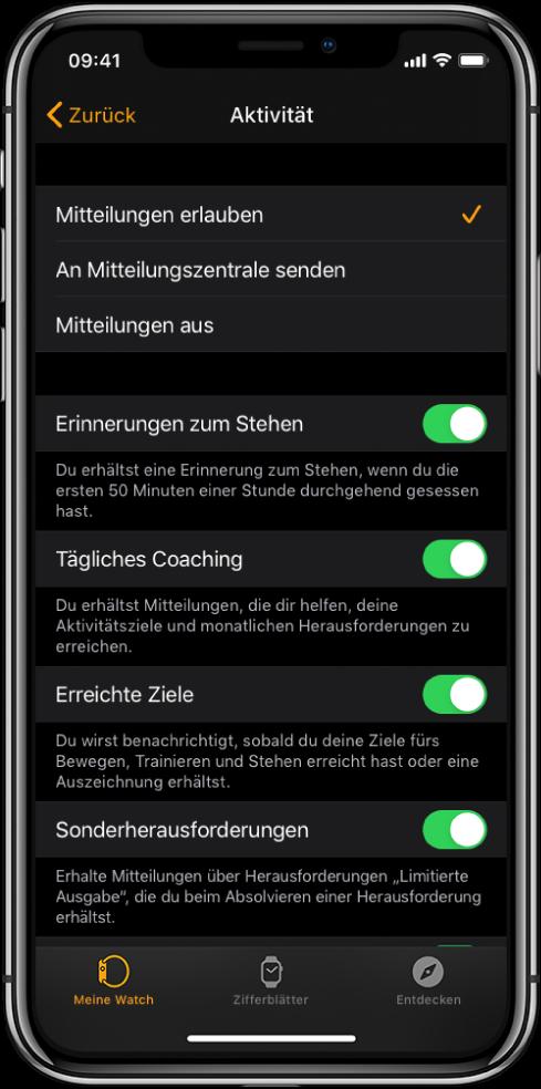 Der Aktivitätsbildschirm in der AppleWatch-App, in dem du die Mitteilungen, die du erhältst, anpassen kannst.