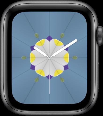 """Das Zifferblatt """"Kaleidoskop"""", zu dem du Komplikationen hinzufügen und das Muster des Zifferblatts anpassen kannst."""