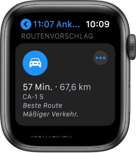 """Die App """"Karten"""" zeigt eine vorgeschlagene Route mit der geschätzten Routenlänge und der Zeit bis zur Ankunft am Ziel. Die Taste """"Mehr"""" befindet sich oben rechts."""
