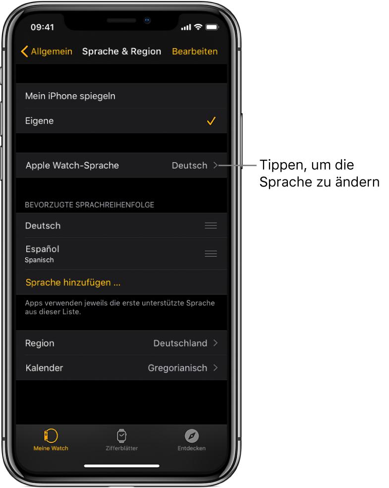 """Die Anzeige """"Sprache & Region"""" in der AppleWatch-App mit der Einstellung """"Apple Watch-Sprache"""" oben."""