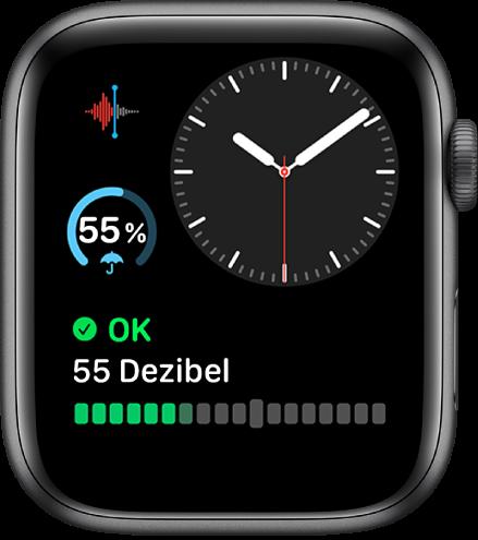 """Das Zifferblatt """"Modular Kompakt"""" zeigt eine analoge Uhr oben rechts, eine Komplikation """"Sprachmemos"""" oben links und eine Komplikation """"Wetter"""" in der Mitte links sowie unten eine Komplikation """"Geräusche""""."""