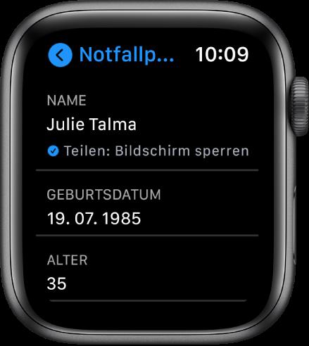 """Die Anzeige """"Notfallpass"""" mit dem Namen und dem Alter des Benutzers."""