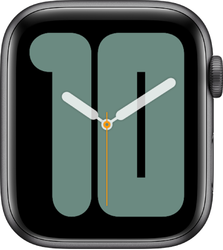 Numerals Mono watch face showing analog hands over a large number, indicating the date.