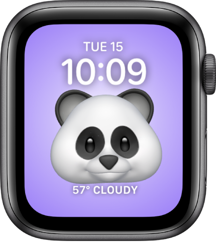 The Memoji watch face, where you can adjust the Memoji character and a bottom complication. Tap the display to animate the Memoji. The date and time are at the top and the Weather complication is at the bottom.