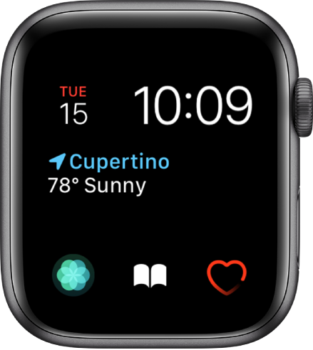 The Modular watch face, where you can adjust the color of the watch face. It shows the time and date near the top, the Weather Conditions complication in the middle, and three subdial complications along the bottom: Breathe, Audiobooks, and Heart Rate.