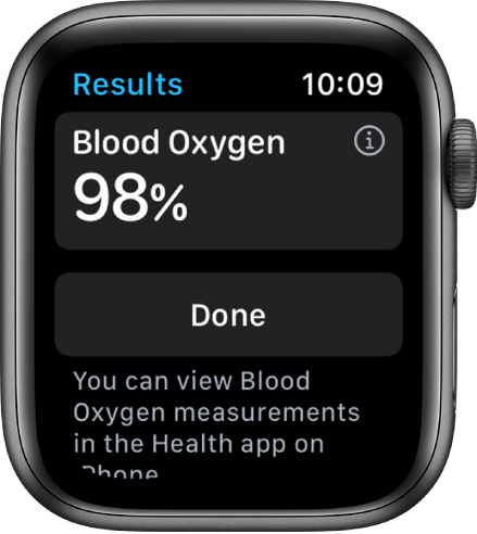 The Blood Oxygen results screen showing a blood saturation level of 98 percent. A Done button is at the bottom.