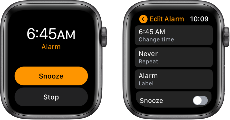 Two watch screens: One shows a watch face with Snooze and Stop buttons, and the other shows the Edit Alarm settings, with Change time, Repeat, and Alarm buttons below. A Snooze switch is at the bottom. The Snooze switch is turned off.