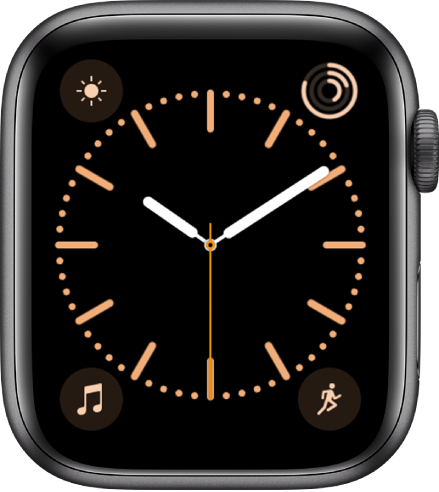 The Color watch face, where you can adjust the color of the watch face. It shows four complications: Weather at the top left, Activity at the top right, Music at the bottom left, and Workout at the bottom right.