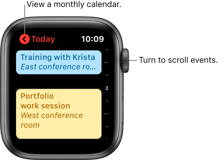Calendar screen showing a list of the day's events.